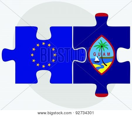 European Union And Guam Flags In Puzzle Isolated On White Background