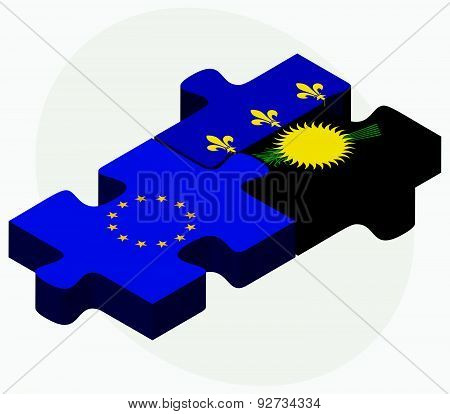 Vector Image - European Union and Guadeloupe Flags in puzzle isolated on white background. poster