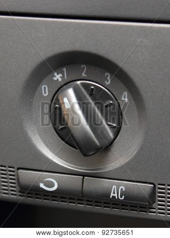 Closeup Of Air Conditioning Button In Car