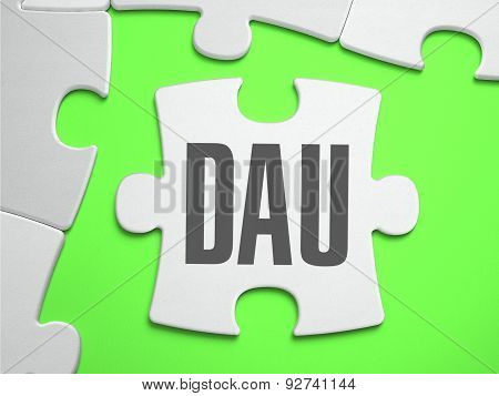DAU - Daily Active Users - Jigsaw Puzzle with Missing Pieces. Bright Green Background. Close-up. 3d Illustration. poster