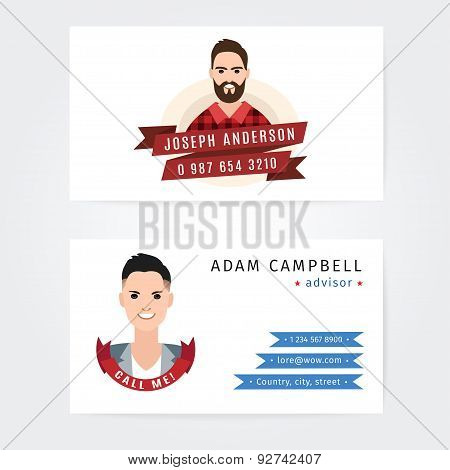 Business cards vector design of a lumberjack  and advisor  or some sort of consultant companies