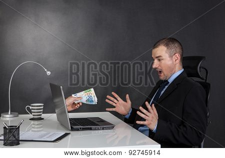 Businessman Earning Money On Network.