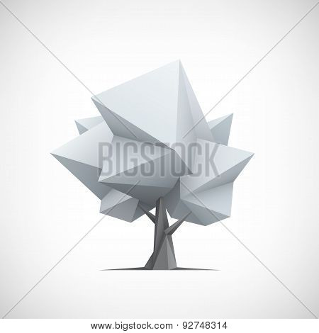 Conceptual polygonal tree. Abstract vector Illustration.