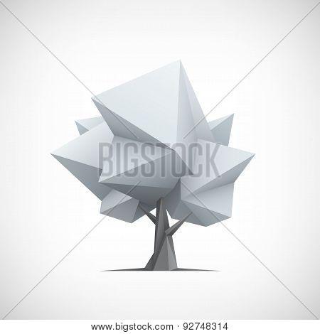 Conceptual polygonal tree. Abstract vector Illustration.