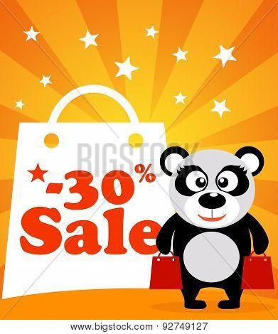 Sale poster panda monkey