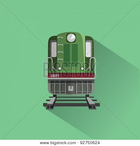 Train on rail road. Flat vector illustration. Front view.