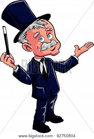 Cartoon magician with a wand