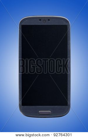 Smartphone and blue background. Idea for smartphone message, smartphone applications, stores, assistance, and others.