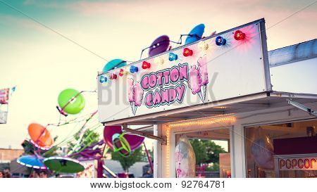 Cotton Candy neon sign at Fair in Mineola New York on the summer season poster