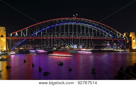 Lavender Bay And Sydney Harbour Bridge During Vivid Sydney