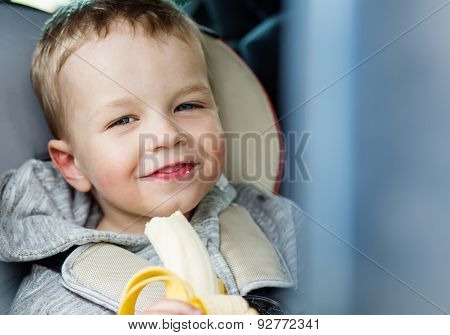 Happy Toddler Boy  In The Car