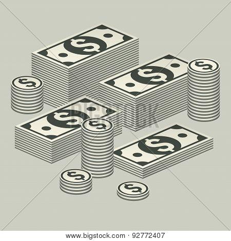 Piles Of Money On Grey