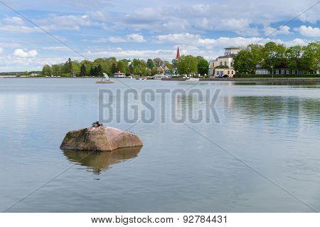 Springtime cityscape on Haapsalu town coastline Estonia poster