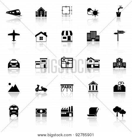 Real Estate Icons With Reflect On White Background