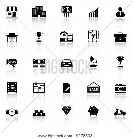 Asset And Property Icons With Reflect On White Background