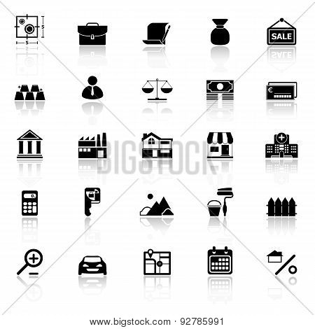 Mortgage and home loan icons with reflect on white background stock vector poster