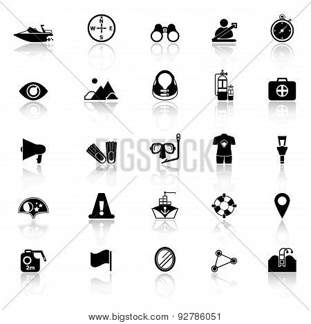 Waterway Related Icons With Reflect On White Background
