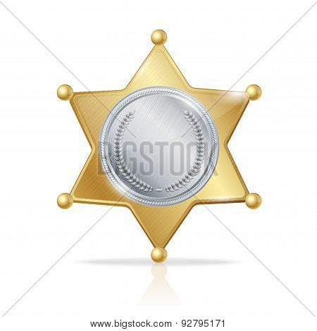 Vector sheriff badge star of the two metals