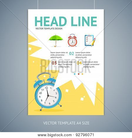 Vector wakeup clock brochure flyer design templates