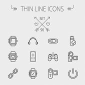 Technology thin line icon set for web and mobile. Set includes -video game, joystick, digital cam, power button, remote control, digital watch, USB . Modern minimalistic flat design. Vector dark grey poster
