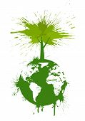 Green concept. Concept ecology background in grunge style. poster