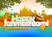 vector illustration of Happy Janmashtami wallpaper background poster
