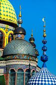 Close view of colorful domes the Universal Temple of All Religions in Kazan Russia. Unique architectural complex consisting several types religious architecture - Orthodox church mosque synagogue poster