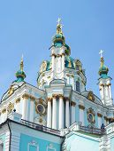 The famous Ukrainian Autocephalous Orthodox Saint Andrew's Church (Andreevskaya). Kyiv Ukraine poster