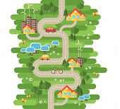 Flat Design Vector Illustration Concept of Ecology. Landscape with Buildings, Electric Cars and Nature Ecology Elements, Solar Panels, Wind Turbines. Eco City Map. Go Green. Save the Earth. Earth Day. poster