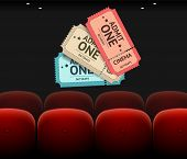 Vector Cinema Concept, seats and tickets isolated on black background poster