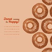 'Donut worry be Happy' invitation. Donuts Pencil sketch. Vector illustration. Colored Pencils Drawing. Donut illustration. Decorative Text frame with Sweet Donuts. Vector illustration of Donuts. poster