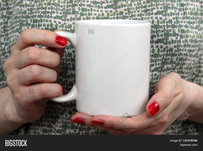 Girl Holding White Cup Mug Hands. Image & Photo   Bigstock
