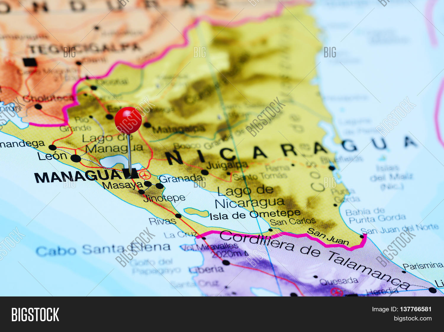 Managua Pinned On Map Image & Photo (Free Trial) | Bigstock