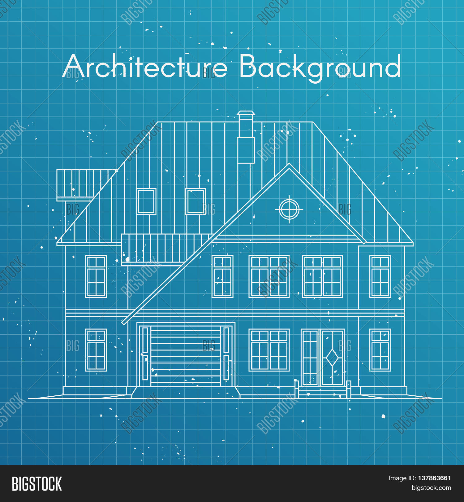 Vector illustration vector photo free trial bigstock vector illustration of family house or cottage architecture blueprint background large private cottage for malvernweather Images