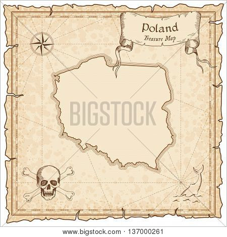 Poland Old Pirate Map. Sepia Engraved Template Of Treasure Map. Stylized Pirate Map On Vintage Paper