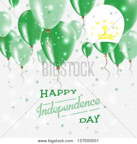 Tajikistan Vector Patriotic Poster. Independence Day Placard With Bright Colorful Balloons Of Countr