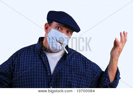 Confused man in breathing mask