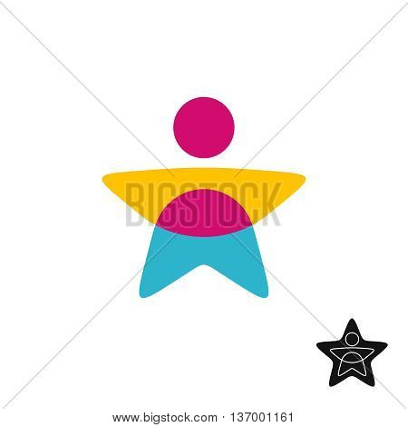 Man star silhouette color overlay logo. Transparency are flattened.