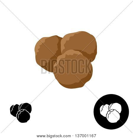 Meatballs icon. Illustration of three round meatballs. Color and black versions.