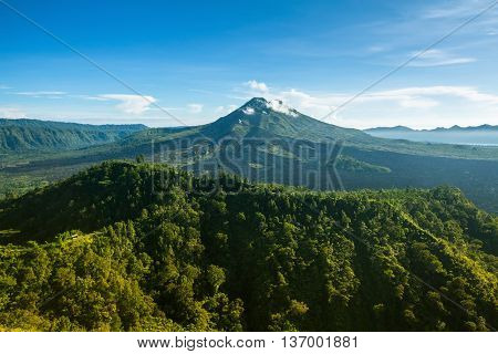 View of mount Batur (Gunung Batur) - active volcano in Bali, Indonesia.