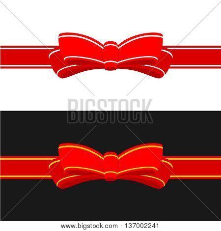 Gift ribbon with red bow. Horizontal ribbon decoration isolated on white and black backgrounds.