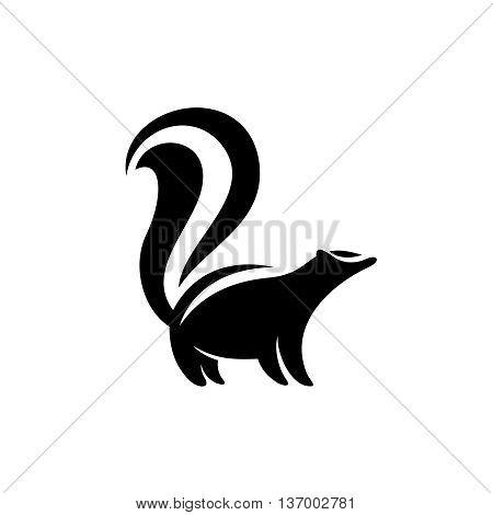 Skunk logo. Black flat color simple elegant skunk animal illustration.