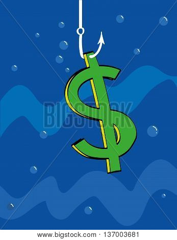 Dollar sign underwater is hanging from a fishing hook as bait or has just been caught