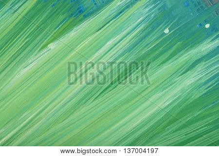 Green abstract hand-painted gouache brush stroke daub background texture. Art. Expression of its own thoughts. Outpouring.