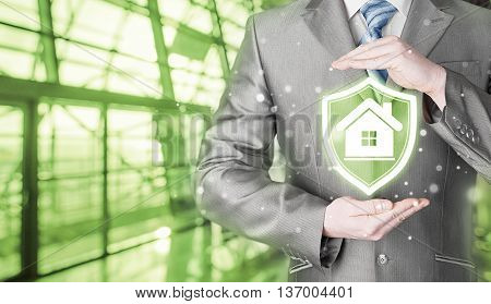 House protection and insurance. Home shield. Real estate safety. Terminal background. Airport, railroad station.