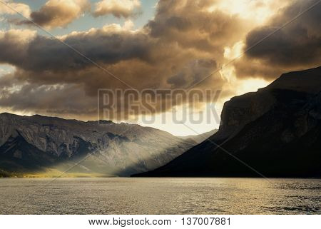 Lake sunrise with cloud in Banff National Park, Canada