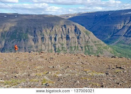 The Putorana Plateau. Plains gorges and cliffs