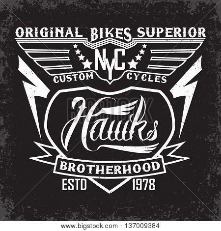 Teeshirt print design, bikers brotherhood emblem, vector