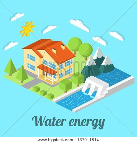 Low-energy House With Hydro Power Plant. For Web Design, Mobile And Application Interface, Also Usef