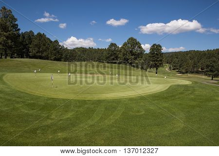A Putting Green at a New Mexico Golf Course